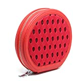 MoreFarther CD Binder Holder Box Organizer Wallet DVD VCD Storage Case Disc Holder Bag Movie Music Audio Portable Round Zippered CD Cover Case For Car Home(Red)