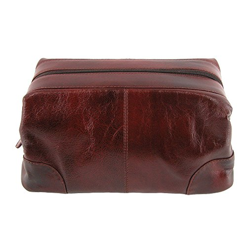CTM Leather Framed Zipper Top Travel Toiletry Kit Bag, Brown