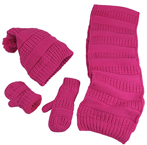 (N'Ice Caps Little Girls and Infants Solid Cable Knit Hat/Scarf/Mitten Accessory Set (Fuchsia Solid, 4-6 Years))