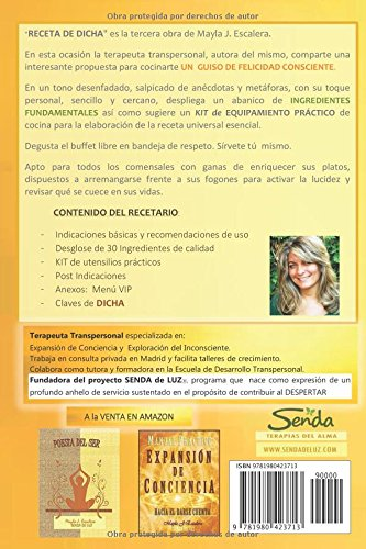 RECETA DE DICHA (Spanish Edition): Mayla J. Escalera SENDA DE LUZ: 9781980423713: Amazon.com: Books