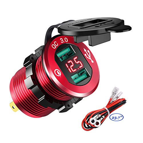 YonHan Quick Charge 3.0 Dual USB Charger Socket, Waterproof Aluminum Power Outlet Fast Charge with LED Voltmeter & Wire Fuse DIY Kit for 12V/24V Car Boat Marine ATV Bus Truck and More - Red