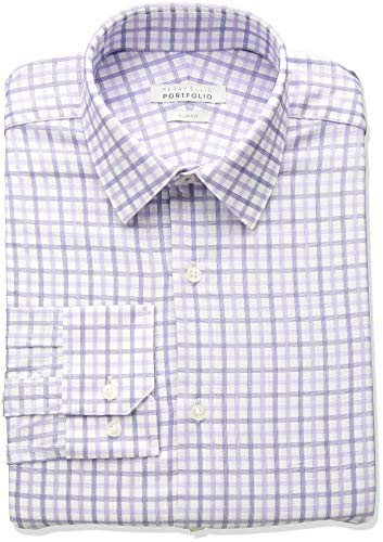 Perry Ellis Men's Slim Fit Performance Nailhead Dobby Dress Shirt, Light Purple Check, 15.5 32/33 (Cotton Dobby Dress Shirt)