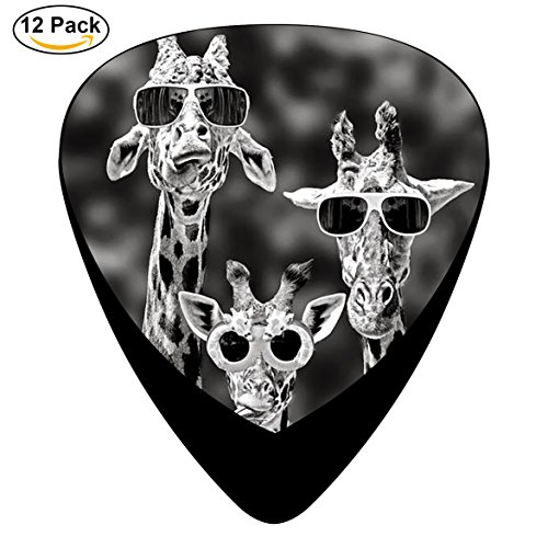 JKS47A Sunglass Giraffes Guitar Picks, Classic Celluloid Picks, 12-Pack, Electric Guitar, Acoustic Guitar, Mandolin, And - Capo Sunglasses