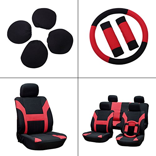 - Seat Cover cciyu Universal Car Seat Cushion w/Headrest/Steering Wheel/Shoulder Pads - 100% Breathable Washable Automotive Seat Covers Replacement fit for Most Cars(Red on Black)