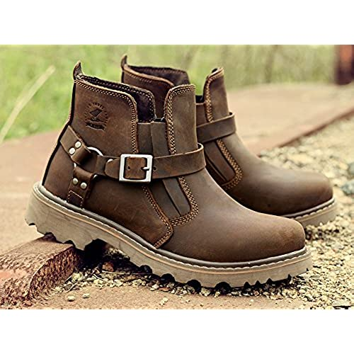 Mens Leather Shoes Retro Engineer Boots Working Martin Boots