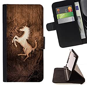 For Samsung Galaxy Core Prime Prancing Horse Beautiful Print Wallet Leather Case Cover With Credit Card Slots And Stand Function