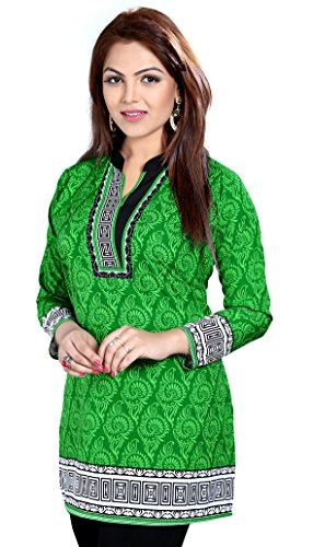 Maple Clothing Indian Kurti Top Tunic Printed Womens Blouse India Clothes (Green, L)