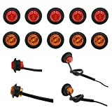 """10pcs x 3/4"""" """"PEAKTOW Round LED Submersible Clearance Marker Lights Front Side Rear Marker Indicators. Light for Car, Truck, Van, Trailer, RV, Boat, Taillight Brake Stop Lamp 12V (5pcs Amber + 5pcs Red)"""