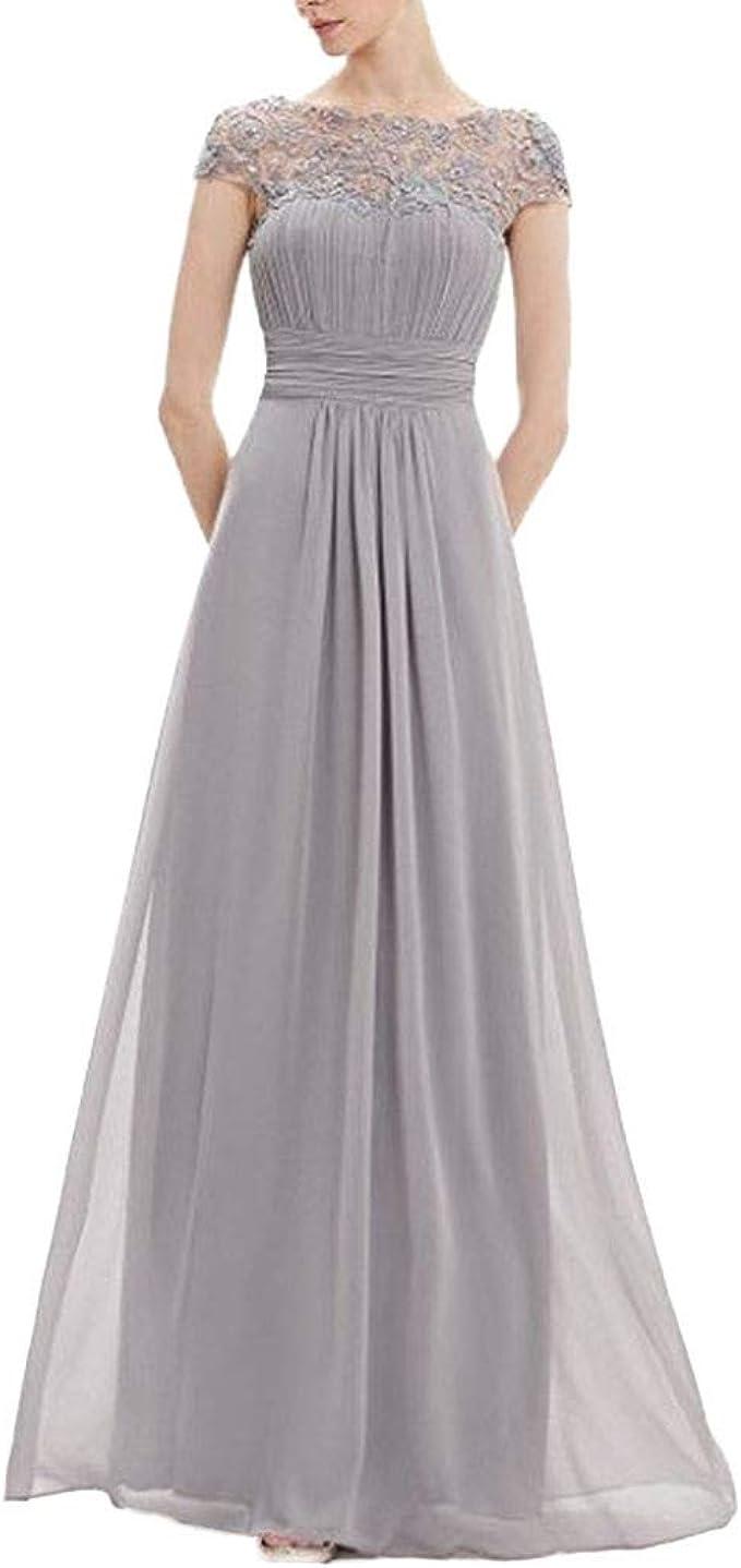JYJM Abendkleider lang Strickkleid Frauen Floral Formale Spitze Vintage  Kurzarm Schlank Hochzeit Maxi Kleid Elegant Kleid Damen Ärmellos  Unregelmässig