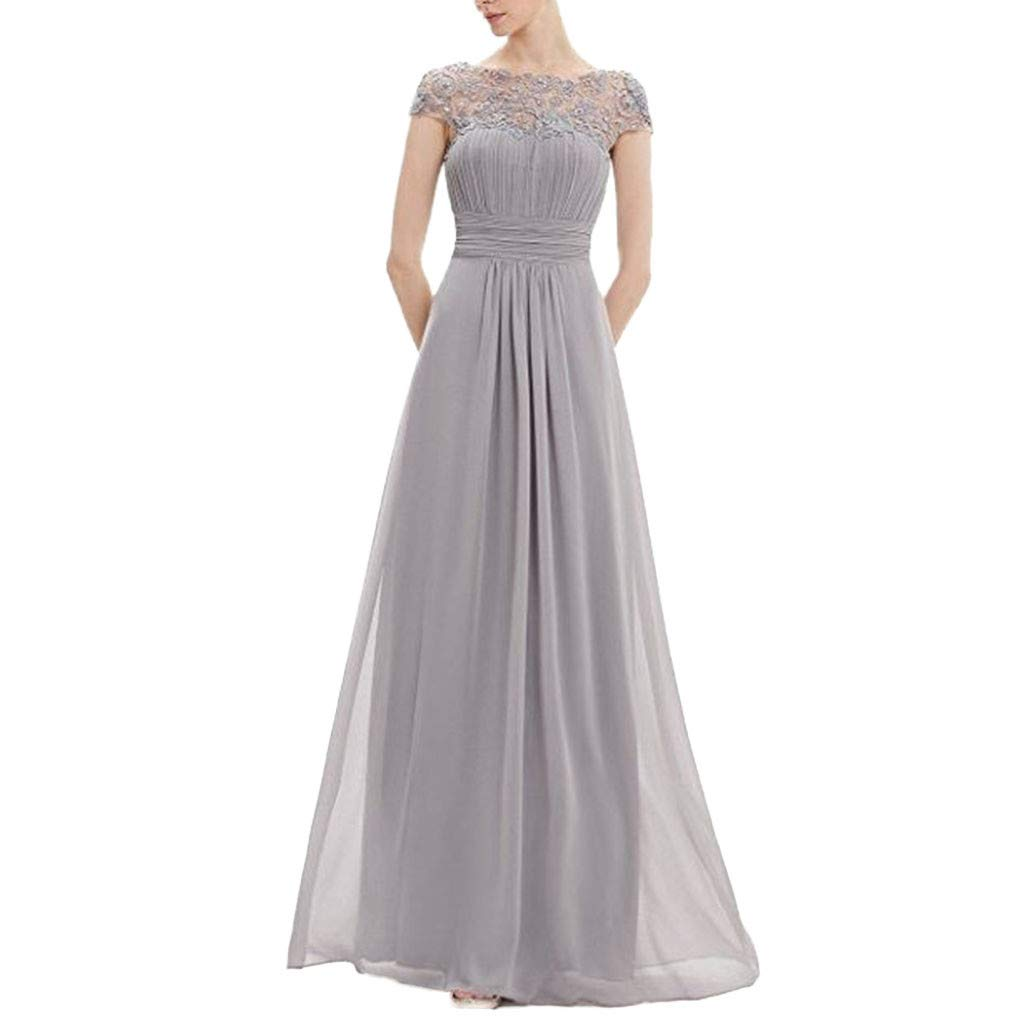 Party Dress for Girls,Women's Floral Formal Lace Vintage Short Sleeve Slim Wedding Maxi Dress,Women's Skirts,Gray,XXL