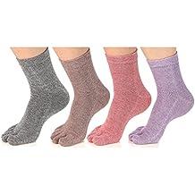 Women's Toe socks Cotton Crew Five Finger Socks For Running Athletic 4 Pack By Meaiguo