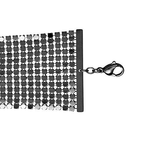 So Chic Bijoux © Bracelet Femme Longueur Réglable: 17 à 20 cm Cotte de Maille Noire Acier Inoxydable