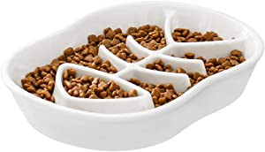 Ceramic Slow Feeder Dog Bowls Cat Bowl -Ceramic Fun Interactive Feeder Bloat Stop Cat Bowl Preventing Feeder Anti Gulping Healthy Eating Diet Pet Bowls Against Bloat, Indigestion and Obesity