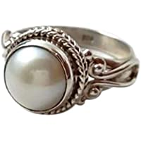 Haluoo Vintage Round Shape Moonstone Ring 925 Sterling Silver Victorian Style Solitaire Ring Triquetra Celtic Knot…