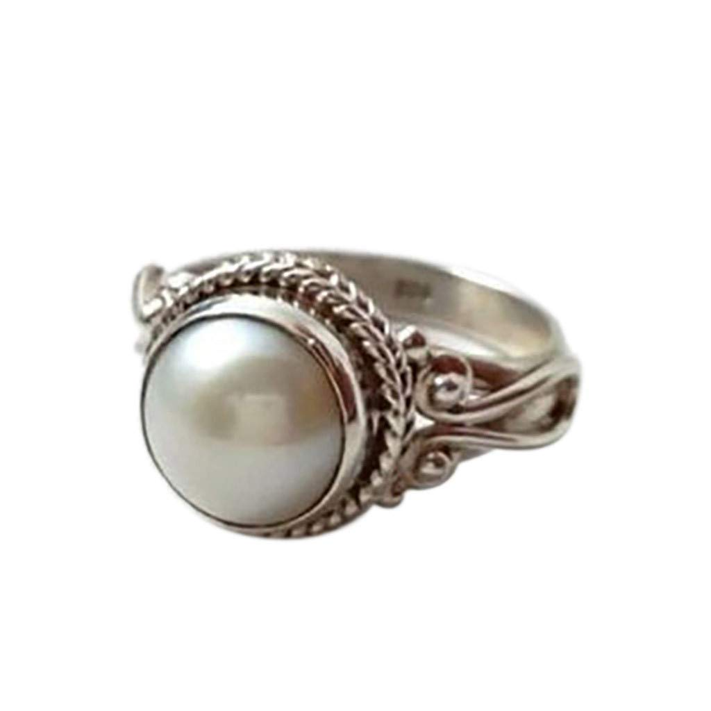 Fashion Trend Vintage Metal Antique White Pearl Women's Ring Jewelry,Gift for Mother's Day (Silver, Size: 6)