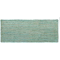 HF by LT Valencia Rug Collection Runner, 27 x 72, Tightly Braided Chindi and Jute, Reversible, Durable, Sustainable, Soft Teal, Five Colors Available