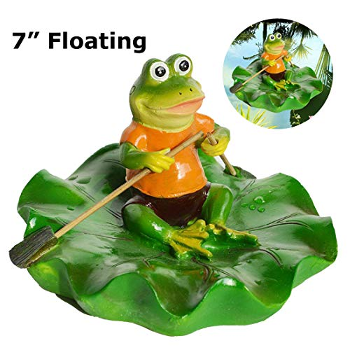 - SIGMALL Floating Pond Decor, Funny Rowing Frog Statue, Outdoor Simulation Resin Cute Frog Sitting on Lotus Leaf, Floater for Home Pool Lawn Decoration Garden Art in Water (Rowing Frog)