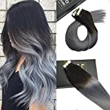 "Sunny 20pcs 50g 14"" Tape in Hair Extensions Remy Human Hair Ombre Natural Black to Blue Grey Seamless Straight Skin Weft Tape in Extensions"