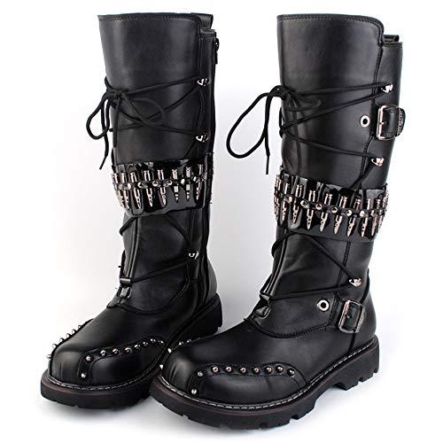 Stivali Trendy rivetti alta alta da 43 Eu Mxnet lunghezza spesso Nero metallo nero motociclista al ginocchio coscia colore per in taglia 5qXC6d6x