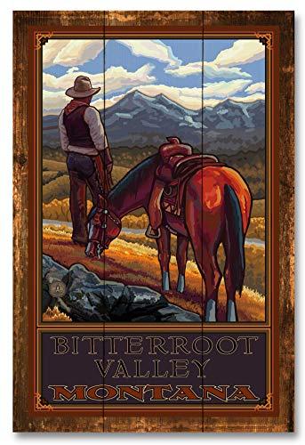 Bitterroot Valley Montana Cowboy On Range Rustic Wood Art Print by Paul A. Lanquist (12
