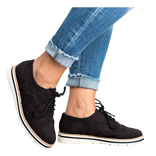 Kaloosh Womens Lace Up Brogue Oxfords Shoes Casual Loafer Shoes