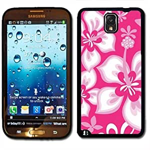 Samsung Galaxy Note 3 Black Rubber Silicone Case - Hibiscus Flowers Pink Pattern Print Hawaiian Tropical Style