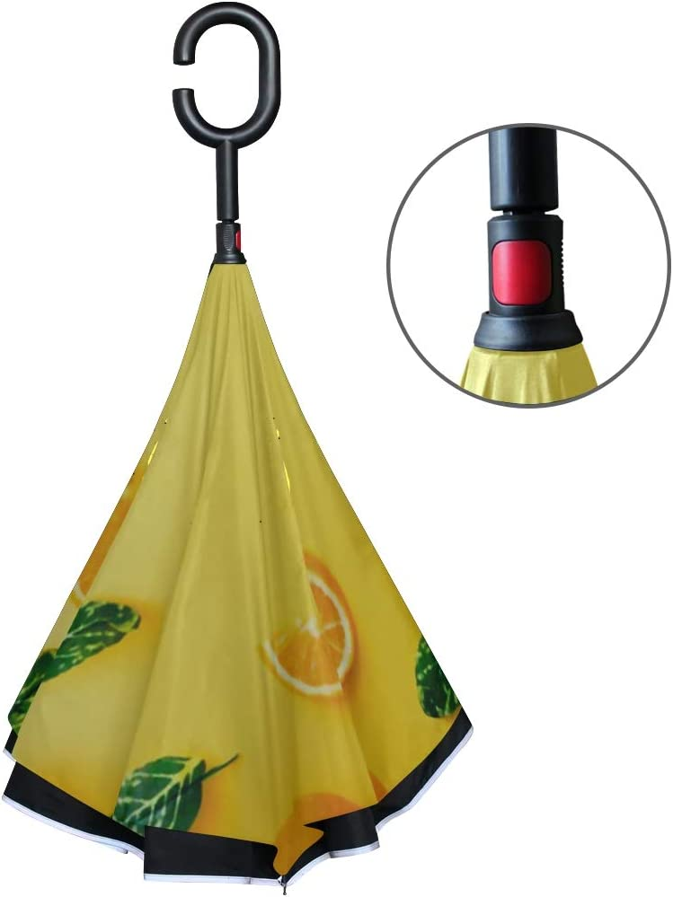 Double Layer Inverted Inverted Umbrella Is Light And Sturdy Creative Summer Pattern Made Oranges Green Reverse Umbrella And Windproof Umbrella Edge N