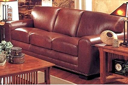 Phenomenal Amazon Com Ponderosa 100 Top Grain Brown Leather Sofa Gamerscity Chair Design For Home Gamerscityorg