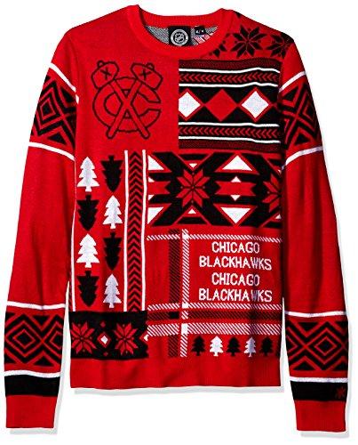 Hockey Crewneck (FOCO Chicago Blackhawks Patches Ugly Crew Neck Sweater Extra Large)