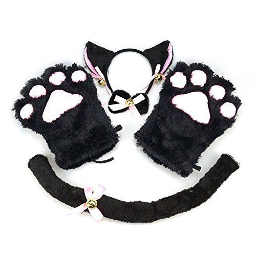 [Cat Cosplay Costume Kitten Tail Ears Collar Paws Gloves Anime Lolita Gothic Set] (Girl Anime Costumes)