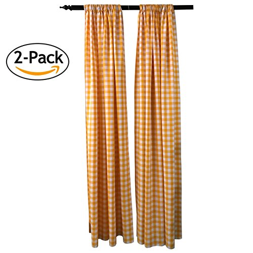 LA Linen Polyester Gingham Checkered Backdrop 58 by 96-Inch, Dark yellow/White, 2 ()
