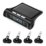 ZEEPIN TPMS Solar Power Universal, Wireless Tire Pressure Monitoring System with 4 DIY Sensors, Real-time Displays 4 Tires' Pressure and Temperature TPMS