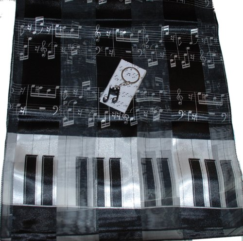 Ladies Black & White Music Gift Set: Piano & Notes Scarf & 16th Note Keychain
