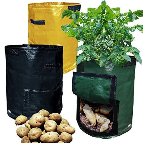 (Awinking 3 Packs 10 Gallon Potato Grow Bags with Handles, Heavy Duty PE Garden Plant Grow Bags for Potato, Eggplant, Vegetable, Pepper, Tomato, Squash, Zucchini, Flower)
