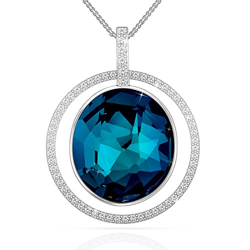 Pendant Necklace, Lydia Queen Women Jewelry Necklace with Round Sapphire Crystal, Pendant Jewelry for Women with a Luxury Gift (Confession Box Costume)