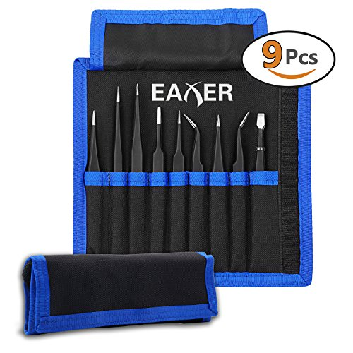 Tweezers Magnetic (Precision Tweezers Set ESD Anti-static Tweezers Tools Kit by EAXER, Non-magnetic and Multi-standard Stainless Steel Tweezers with Storage Bag, Electronics, Jewelry and Detailed Work (9 Pieces))