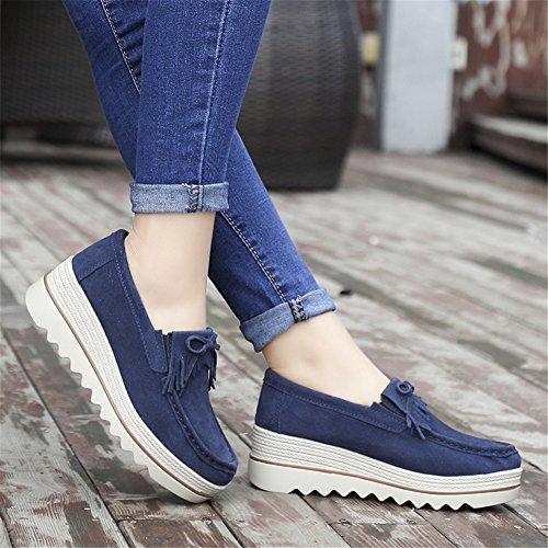 HKR Women Suede Platform Sneakers Fashion Summer Ladies Slip On Tassel Moccasin Shoes Closed Toe Fringe Work Wedges Loafers 2017 Navy Blue jPscP6UwBw