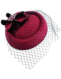 Aniwon Wool Pillbox Hat Cocktail Party Wedding Flower Veil Fascinator for Women