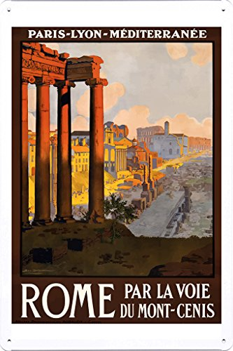Tin Sign of Retro Vintage Travel Poster Rome Italy 1920 (20x30cm) by Nature Scene Painting