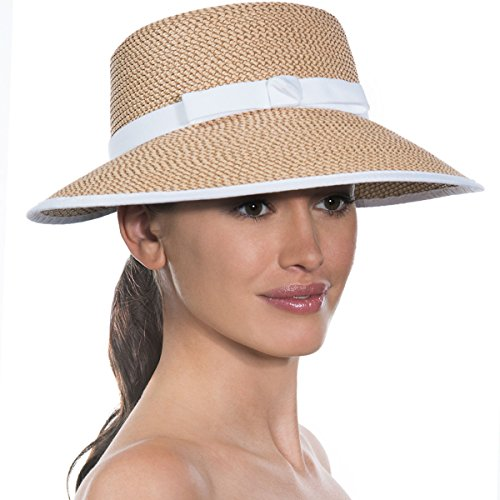 Eric Javits Luxury Designer Women's Headwear Hat - Squishee Cap - Peanut/White by Eric Javits