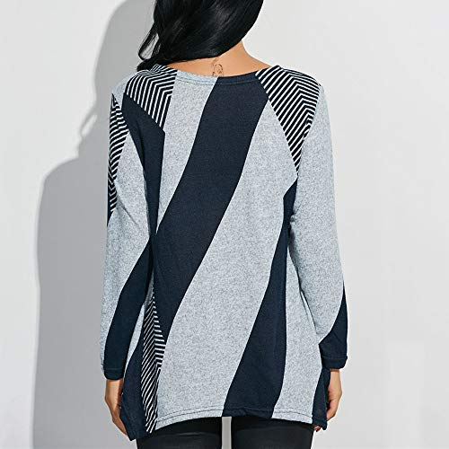 66369929d20e25 Clothing, Shoes & Jewelry iZHH Fashion Womens Shirt O-Neck Striped Print  Color Block Top Patchwork ...