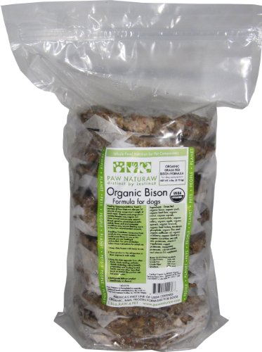 Paw Naturaw Diet Grass Fed Organic Bison Patties in Plastic Bag (Pack of 5) by Paw Naturaw