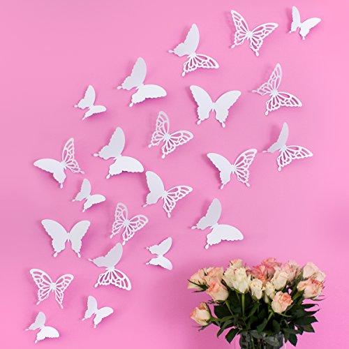 Wandkings 3D Schmetterlinge in WEIß mit Ornamenten / Muster, 12 STÜCK im Set mit Klebepunkten