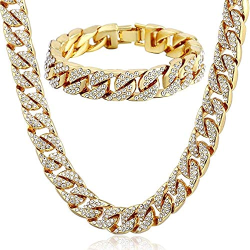 (HUAYI Heavy 24K Solid Gold Necklace and Bracelet Jewelry Plated Full Diamond Miami Cuban Link Chain Men Hip Hop Bling Iced Out Chains (Gold,One Size))