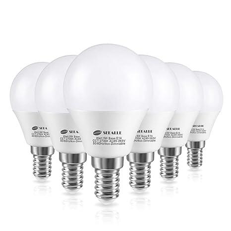 Seealle - Bombilla LED E14 (5 W, G45, equivalente a bombilla incandescente de