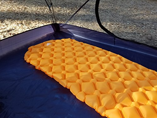 OutdoorsmanLab Ultralight Sleeping Pad – Ultra-Compact for Backpacking, Camping, Travel w/ Super Comfortable Air-Support Cells Design (Orange)