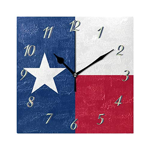 Abbylife US American State Flag Texas Flag Square Wall Clock, Silent Non-Ticking Easy to Read Decorative Battery Operated Wall Clock Art for Living Room Home Office School 7.87