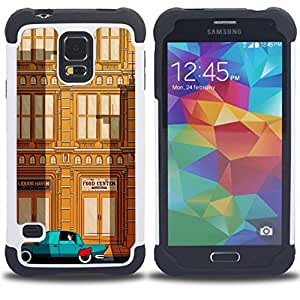 - deco car brown teal city building/ H??brido 3in1 Deluxe Impreso duro Soft Alto Impacto caja de la armadura Defender - SHIMIN CAO - For Samsung Galaxy S5 I9600 G9009 G9008V