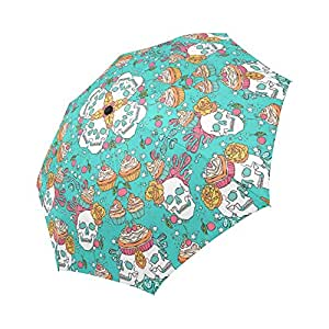 interestprint multitudes de Halloween Zombies Walking de noche 100% poliéster Pongee tela resistente al viento paraguas de viaje, compacto plegable automática Abrir y cerrar UV y lluvia paraguas