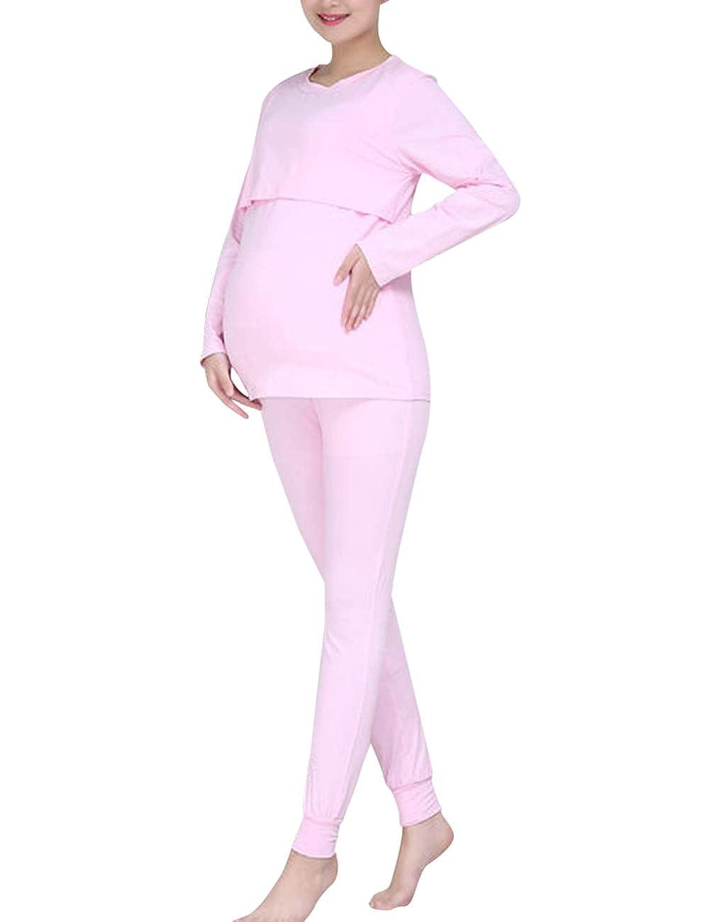 Zhhlinyuan Pregnancy Nursing Breastfeeding Tops Long Pants Sets - Maternity Sleepwear